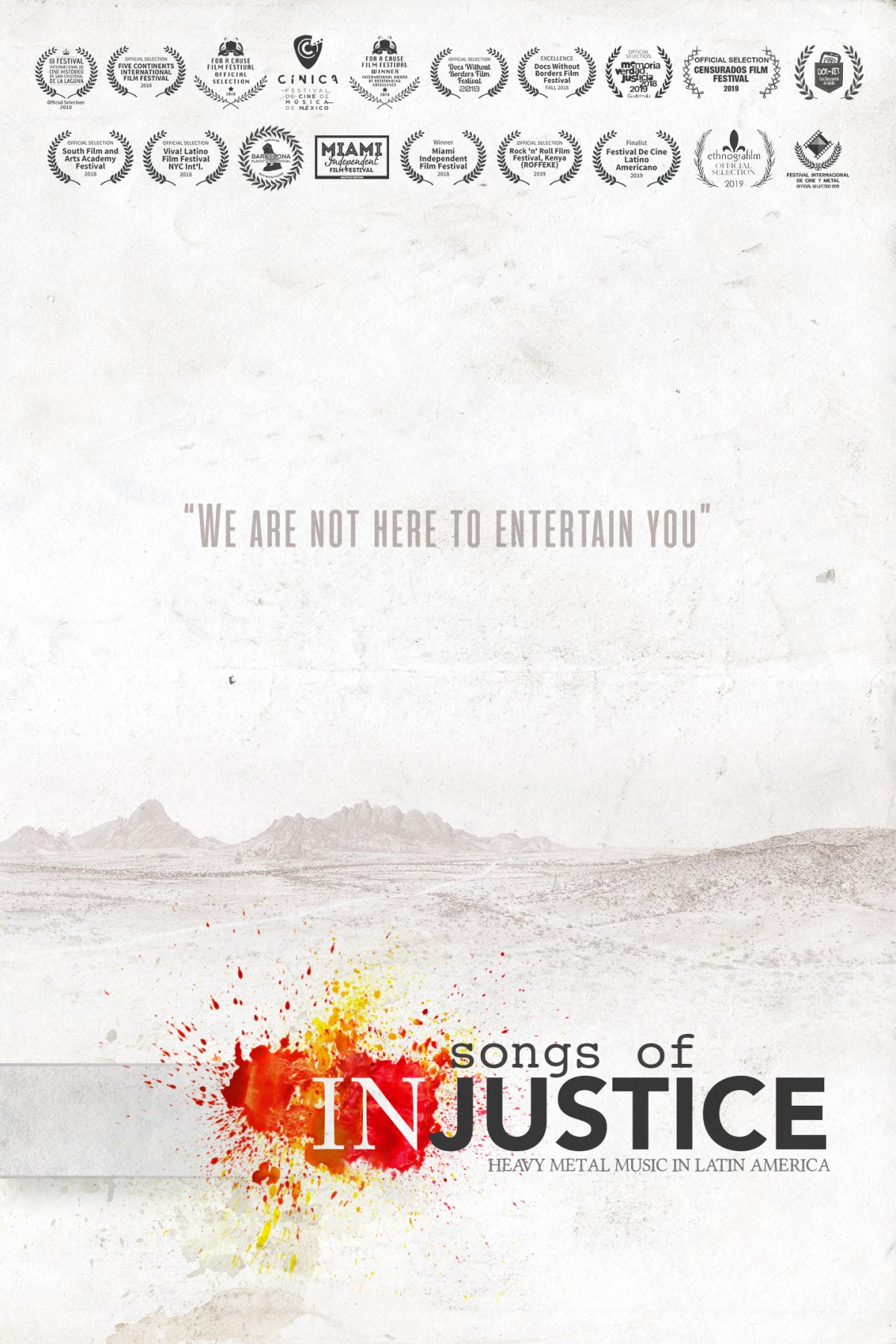 Songs of Injustice – Poster w Laurels - Nelson Varas Diaz