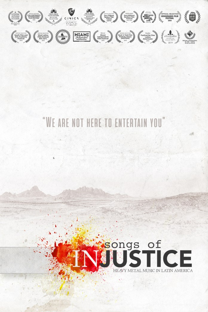 Songs of Injustice – Poster w Laurels - Nelson Varas Diaz