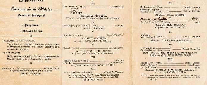 Programa concierto inagural en la Fortaleza