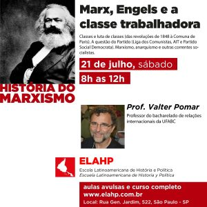 Dia 21 de julho – Marx, Engels e a classe trabalhadora.  Classes e luta de classes (das revoluções de 1848 à Comuna de Paris). A questão do Partido (Liga dos Comunistas, AIT e Partido Social Democrata). Marxismo, anarquismo e outras correntes socialistas.