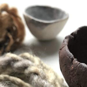 Wool and ceramics - part of a Collaborative exploration between Elaine Bolt and Imogen Di Sapia