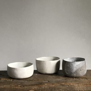 Elaine Bolt - Stone White and Grey pinch pots