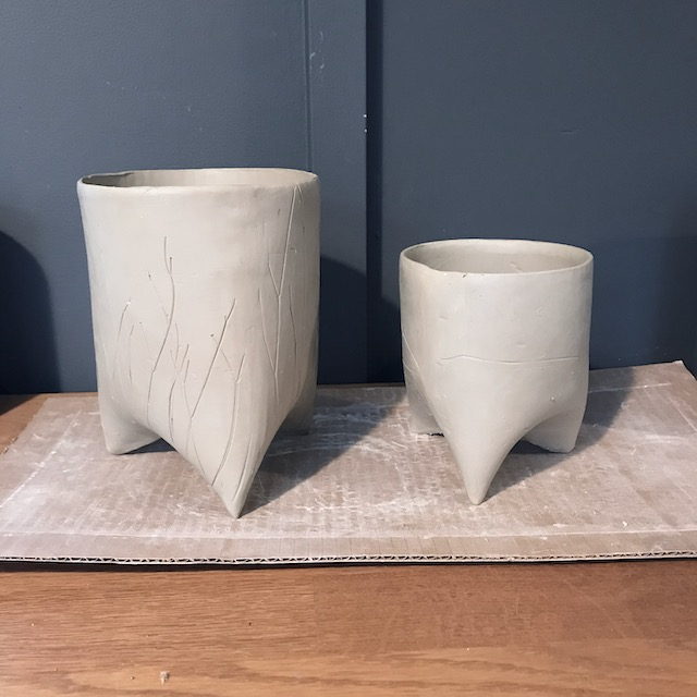 Soft slabbed tripod pots (unfired)