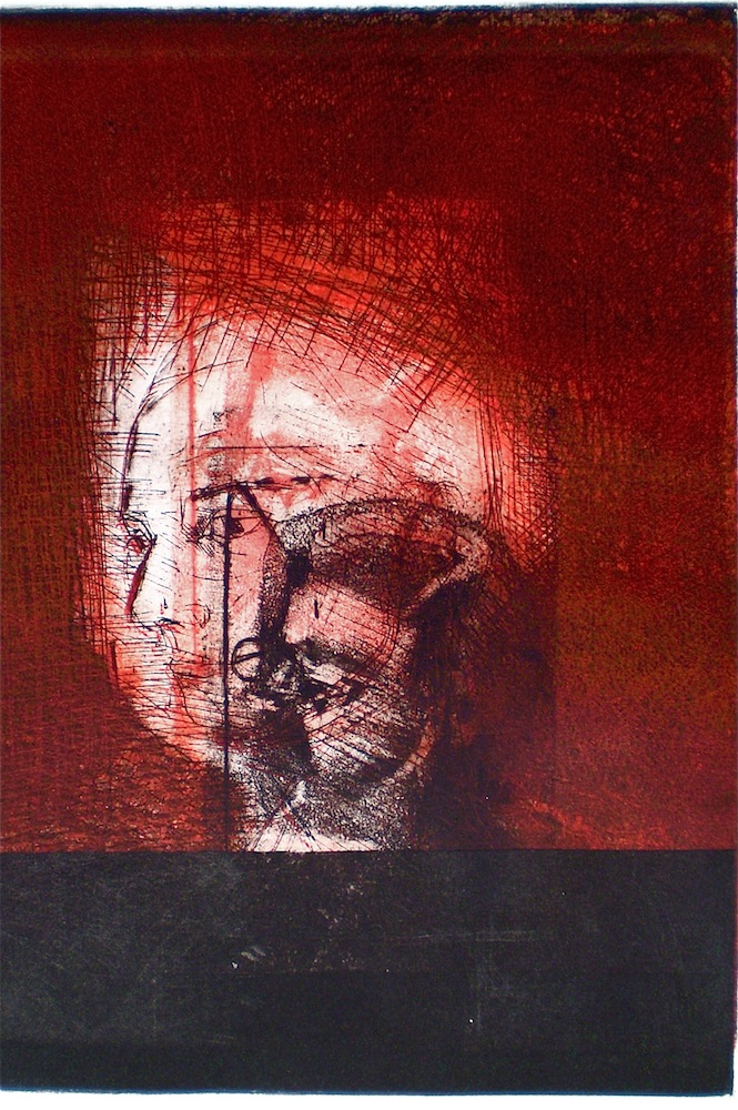 Etching consisting of 2 Plates titled, Growing Persona, 1/1, 2009, 26x18 cm print, 50x35 cm paper, intaglio and drypoint.