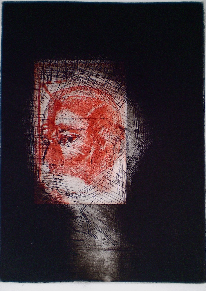 Etching with 2 plates titled, In Focus, 2009, 25x18 cm print, 50x35 cm paper, intaglio and drypoint.
