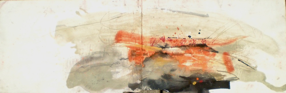 Kakadu landscape titled Ubirr Rock 1, 2003, 34x100 cm, pastel stain and ink on Fabriano