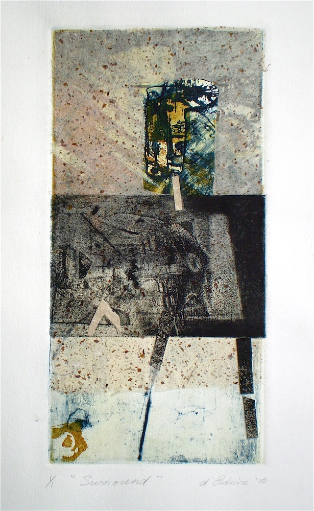 Mixed media beachscape titled Surround 2010, 26x13 cm print, 50x35 cm paper, collage and intaglio from Return to Sand and Water series.