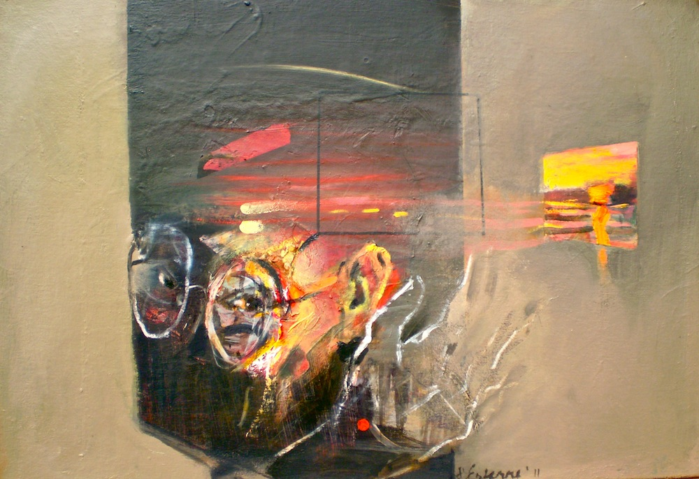 Self portrait titled Vision at Sunrise, 2011, 46x66 cm, oil on canvas from series titled Eye and Site 3.