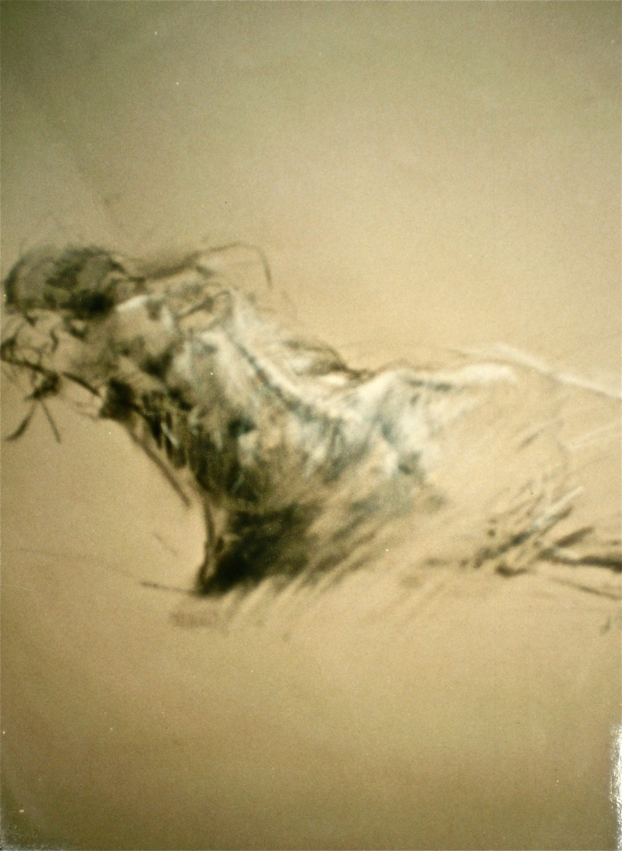 Artist's Life Drawing of male model titled Sleeping Man, 1989, 75x55 cm, ink, charcoal and pastel