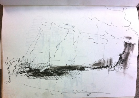Sketch in ink pen of undermined rock face by water flow from the wet season
