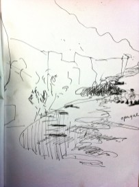 Sketch line drawing of Katherine Gorge.