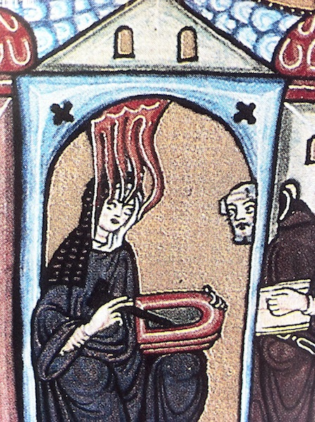 Self portrait by Hildegard of Bingen, detail, Scrivias f., 1r, 1142 - 1152