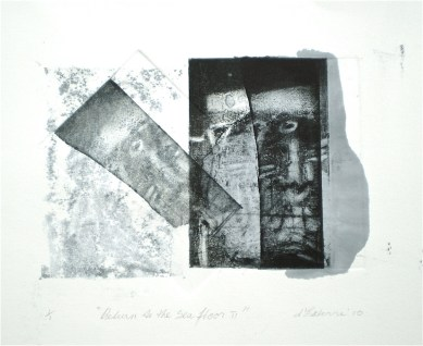 Return to the Sea Floor 2, 2010, intaglio and wash 16x20 cm print, 35x50 cm paper
