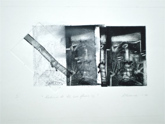 Return to the Sea Floor 3, 2010, intaglio and wash 15x28 cm print, 35x50 cm paper