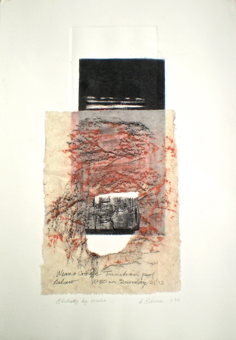 Artwork print titled Etching by Water, 2014, 38x19 cm print, 50x35 cm paper, intaglio, emboss, rice paper frottage with graphite and pastel on Fabriano.
