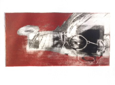 "A Search for ""The Golden Spike"", 2014, intaglio, 12x22 cm print, 30x40 cm paper"