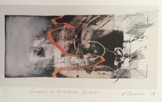 'Sounds in Brachina Gorge', 2016, intaglio print, pen and ink and pastel, 12x30 cm