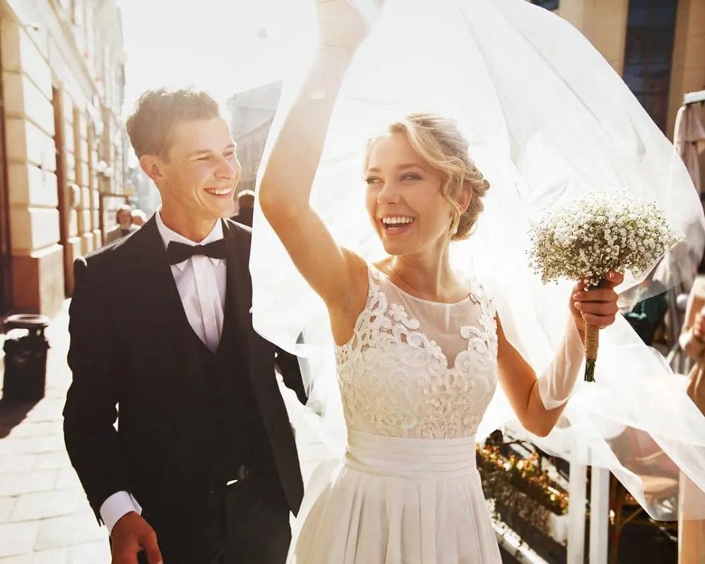 Joyful bride & groom