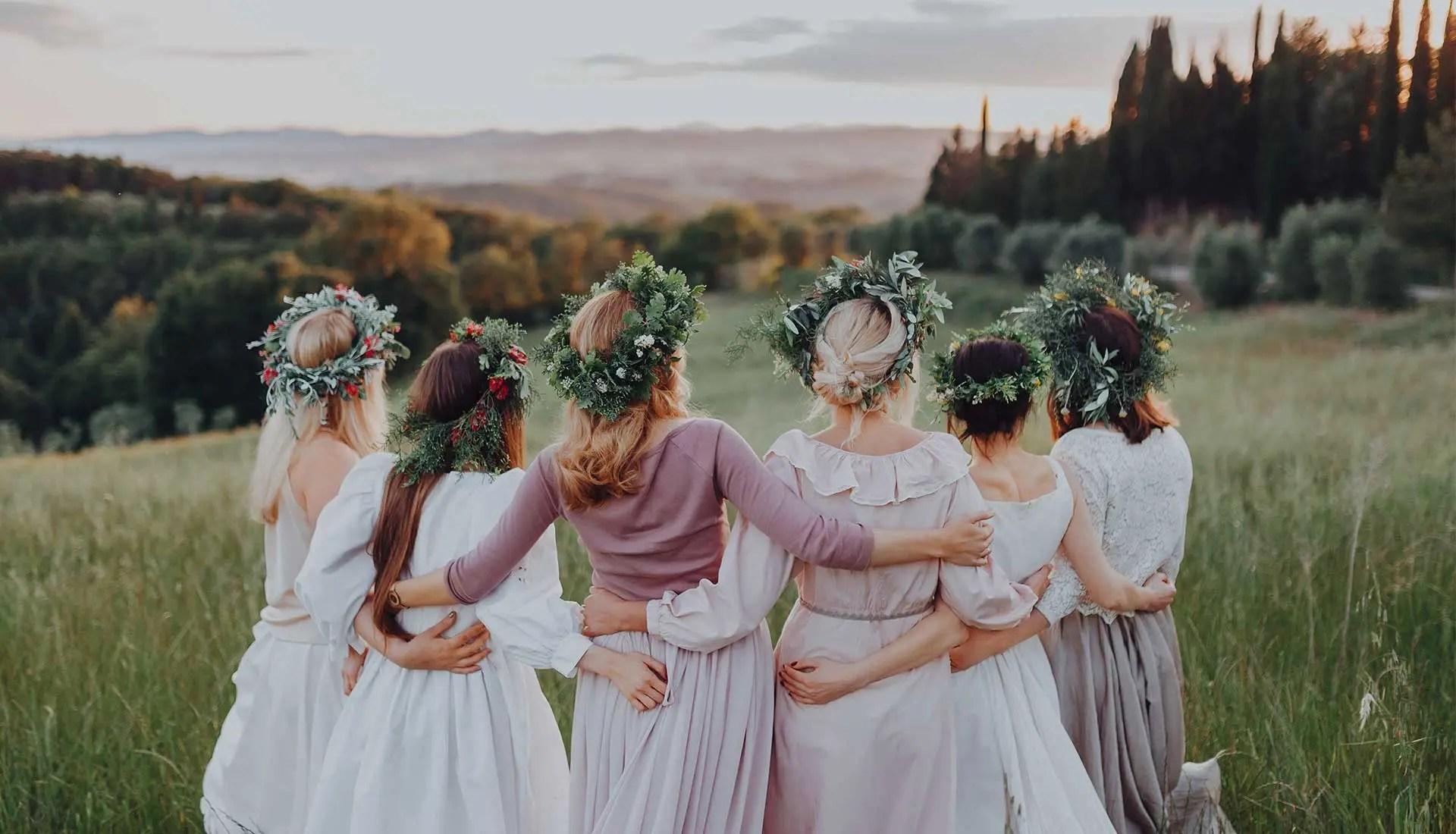 Bridesmaids embracing
