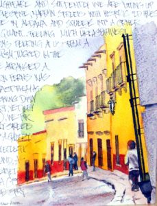 Art Journal Page - Streets Aglow