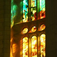 Sunlight through the stained glass windows