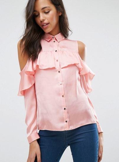 Miss Selfridge Cold Shoulder Ruffle shirt