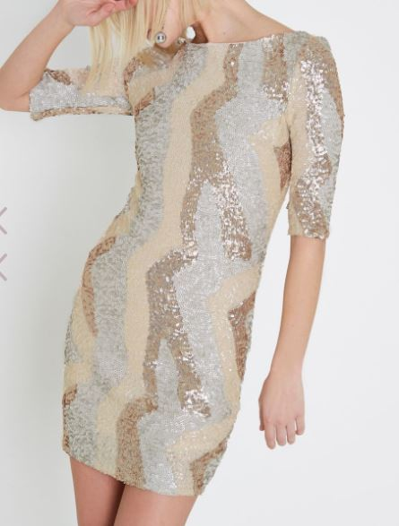 gold metallic sequin bodycon dress river sialnd