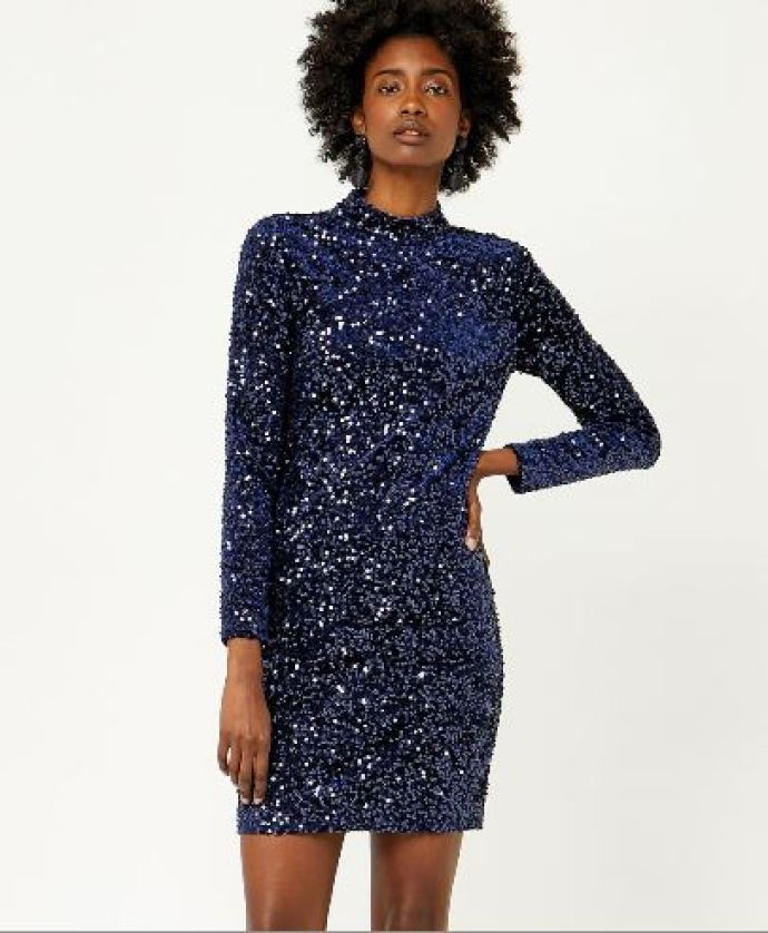 warehouse blue sequin dress
