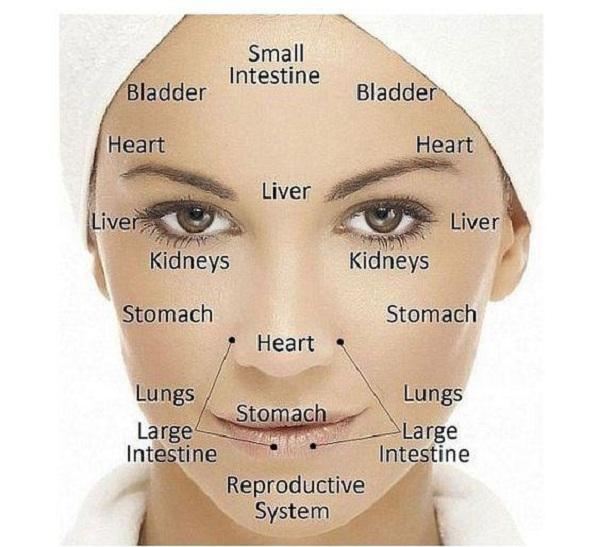 harta feței în medicina chineză