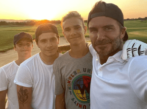 David Beckham and his sons:Brooklyn, 21,  Romeo, 17, and Cruz, 15, in fun snaps:'Love you boys'