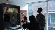 """Monica Mak and Fisseha Tadesse film the Ge'ez alphabet for our short documentary """"Life of a Dead Language"""". January 17, 2013."""