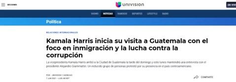 Kamala Harris en Guatemala, medios de comunicación,