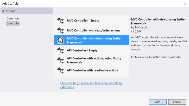 Enable Scaffolding without Entity Framework in ASP NET Core