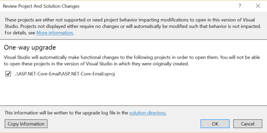 ASP NET Core Conversion to csproj with Visual Studio 2017