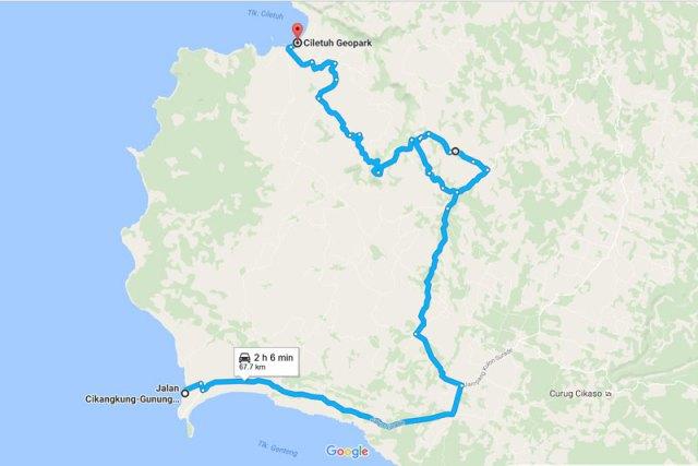 rute ujung genteng - geopark