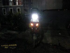 modifikasi headlamp NJMX pakai lampu LED