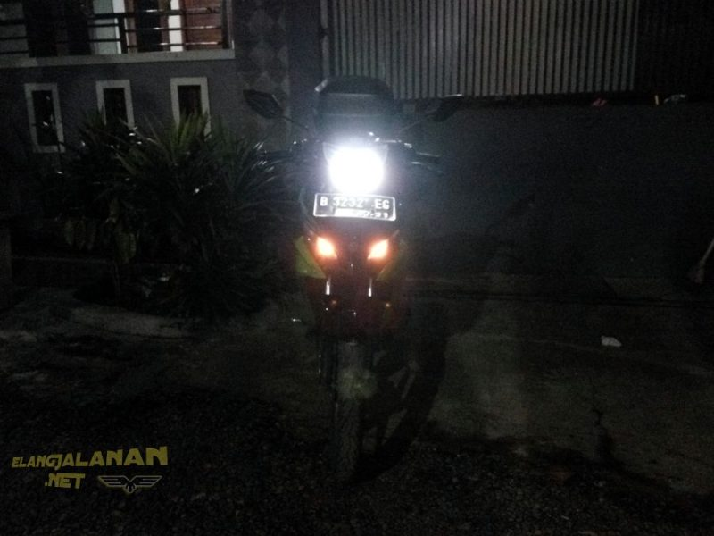 Iseng modifikasi headlamp NJMX pakai lampu LED