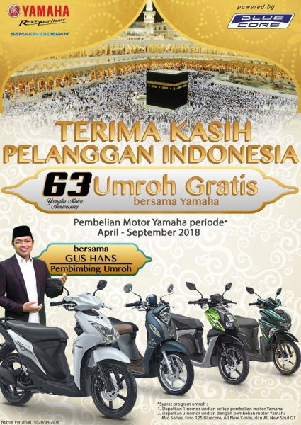Beli Motor Baru, Berhadiah Umroh dari Yamaha!