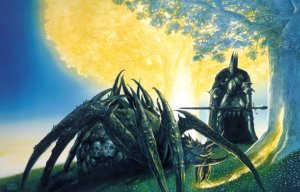 Melkor y Ungoliant junto a los Dos Árboles, según John Howe