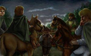 Pippin, Merry, Sam y Frodo llegan al Puente del Brandivino, según Francesco Amadio