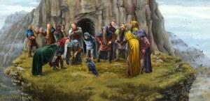 Roäc le comunica la muerte de Smaug a Bilbo y los Enanos, según Carol Emery Phenix