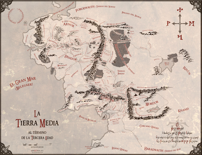 Fantástico mapa de la Tierra Media en alta resolución y en español ...