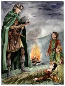 Aragorn examina el puñal del Rey Brujo, según Anke Katrin Eißmann