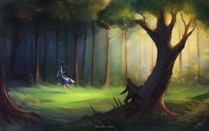Beren encuentra a Lúthien, según la artista rusa Helen Kei