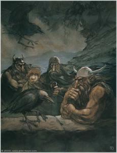 Roäc, Bilbo y los enanos, según John Howe