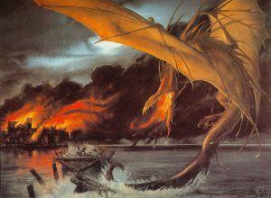 Smaug ataca la Ciudad del Lago, según John Howe