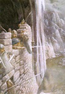 Los enanos en el parapeto de la Puerta Principal de la Montaña Solitaria, según Alan Lee