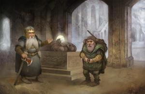 Dáin junto a la tumba de Thorin, según el artista británico Jon Hodgson