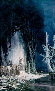 La Compañía ante la Puerta Oeste de Moria, según Alan Lee