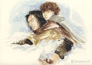 Boromir y Pippin en el Caradhras, según Catherine Karina Chmiel-Gugulska